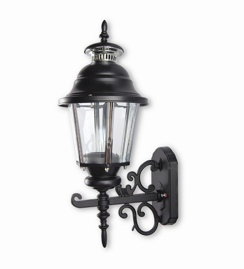 Fos Lighting Single Shade Black Ornate Lantern Style Outdoor Wall Light