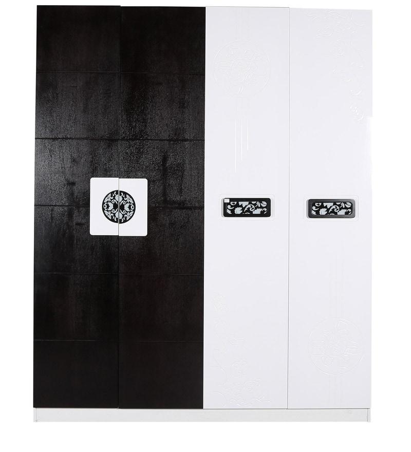 Buy Four Door Wardrobe In Black & White Duco Paint By