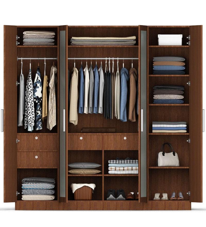 Buy Four Door Wardrobe In Maldau Acacia Dark Finish In