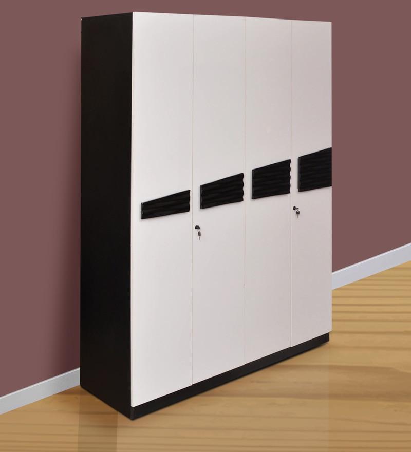 Four Door Wardrobe in White & Black Colour by Parin