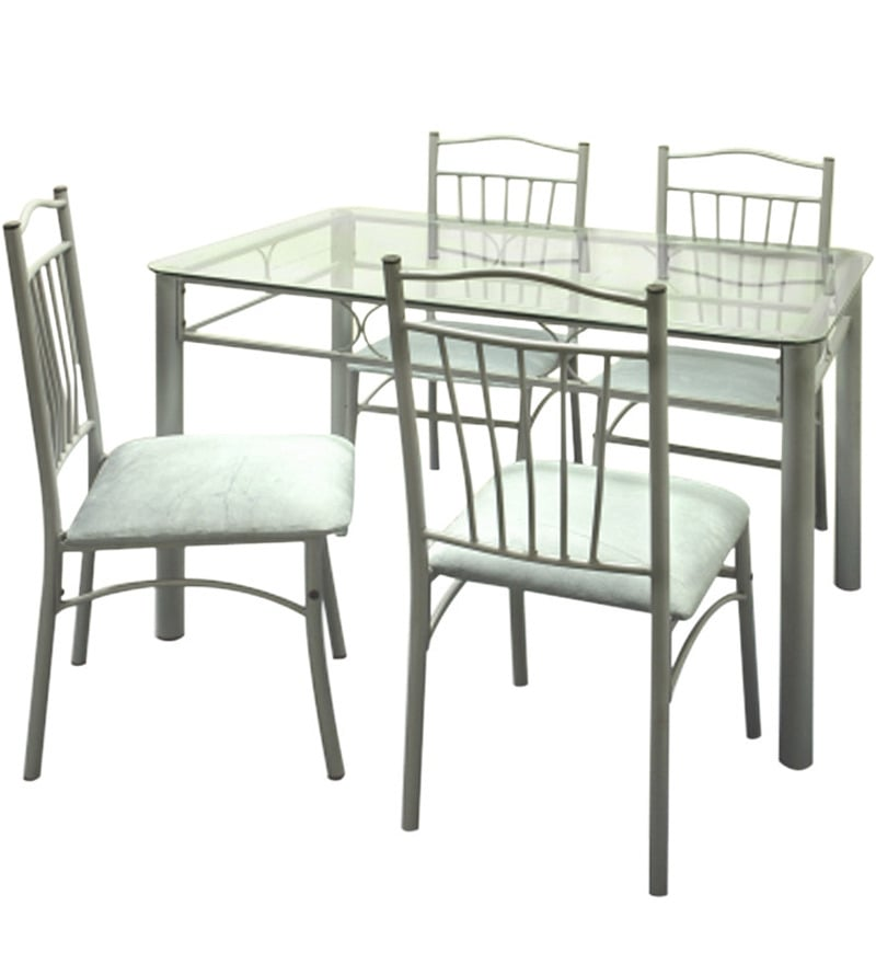 Buy Four Seater Dining Set with Glass Top Table by  : four seater dining set w glass top table by furniturekraft four seater dining set w glass top table cutc4b from www.pepperfry.com size 800 x 880 jpeg 33kB