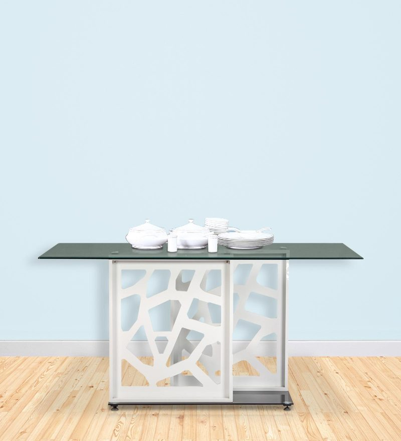 Four Seater Dining Table with Glass Top in White Colour by Parin