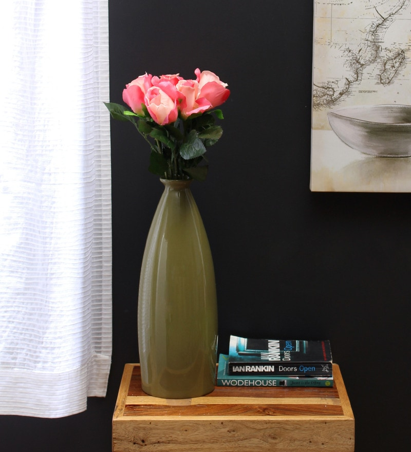 Pink Synthetic Artificial Rose - Set of 5 by Fourwalls