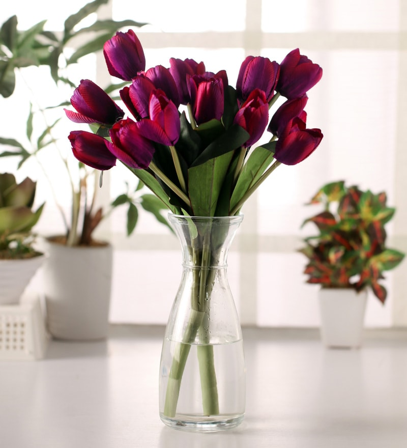 Purple Artificial Tulip Bunch Set by Fourwalls