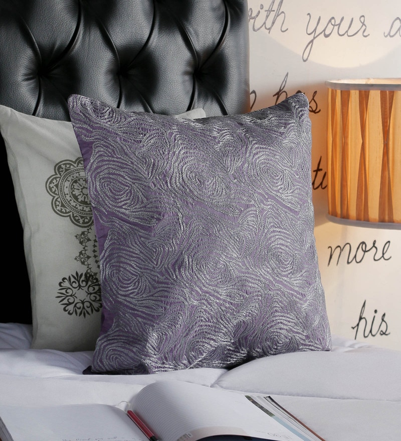 Foyer Purple Taffeta 18 x 18 Inch Taar Cushion Cover