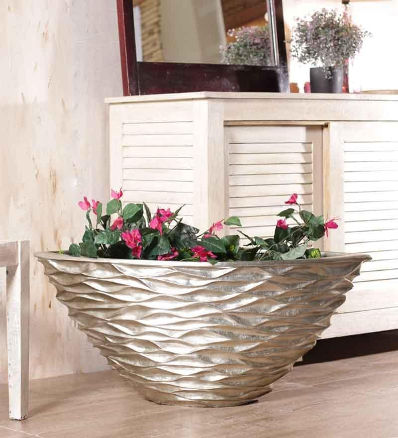 Foyer Conical Champagne Leaf Vase - 13 x 28 in