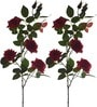 Dark Pink Polyethylene Blooming Roses - Set of 2 by Fourwalls