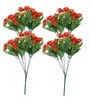 Orange Fabric Artificial Daisy Flower Bouquet - Set of 4 by Fourwalls