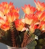Fourwalls Orange Fabric Artificial 5 Head Silk Chrysanthemum Flower Bouquet - Set of 2