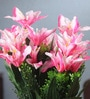 Pink Fabric Artificial Mini Lillium Flower Bouquet with 11 Flower Heads - Set of 2 by Fourwalls