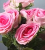 Pink Velvet Beautiful & Natural Looking Artificial Amazing Velvet Rose Bouquet with Large Blooming Flowers - Set of 7 by Fourwalls