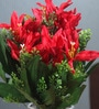Red Fabric Artificial Mini Lillium Flower Bouquet with 11 Flower Heads - Set of 2 by Fourwalls