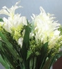 White Fabric Artificial Mini Lillium Flower Bouquet with 11 Flower Heads - Set of 2 by Fourwalls