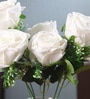 White Velvet Beautiful & Natural Looking Artificial Amazing Velvet Rose Bouquet with Large Blooming Flowers - Set of 7 by Fourwalls