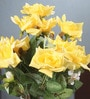 Yellow Fabric Magnificent Artificial Synthetic Rose Bunch by Fourwalls