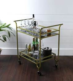 French Bar Trolley In Brass Finish With Black Glass Shelves