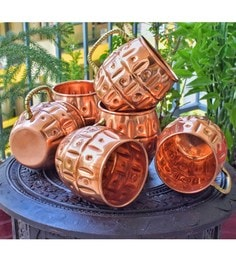 Frestol Designer Copper 380 ML Handmade Beer Mugs - Set Of 6