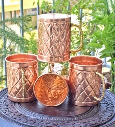 Frestol Handmade Copper 380 ML Designer Beer Mugs - Set Of 4
