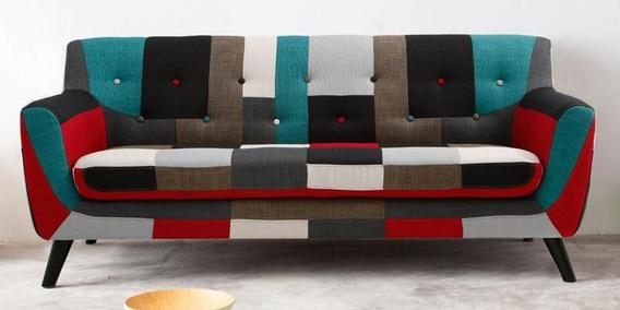 Beau Frida Three Seater Sofa In Red Multi Colour