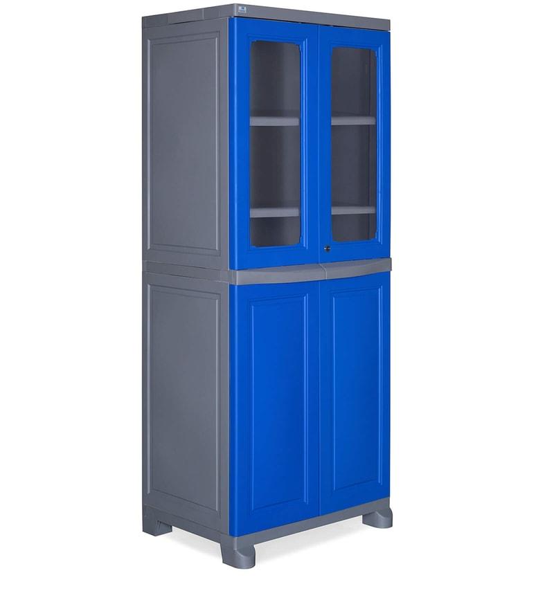 Freedom Wardrobe in Deep Blue & Grey Colour by Nilkamal