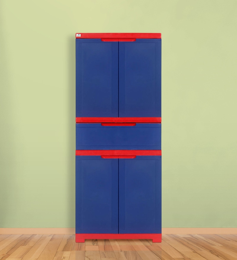 Freedom Multipurpose Cabinet with One Drawer in Blue & Red Color by Nilkamal