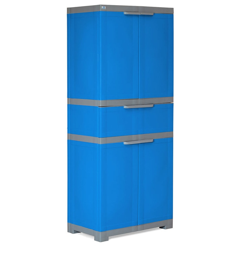 Freedom Multipurpose Cabinet with One Drawer in Blue & Grey Color by Nilkamal