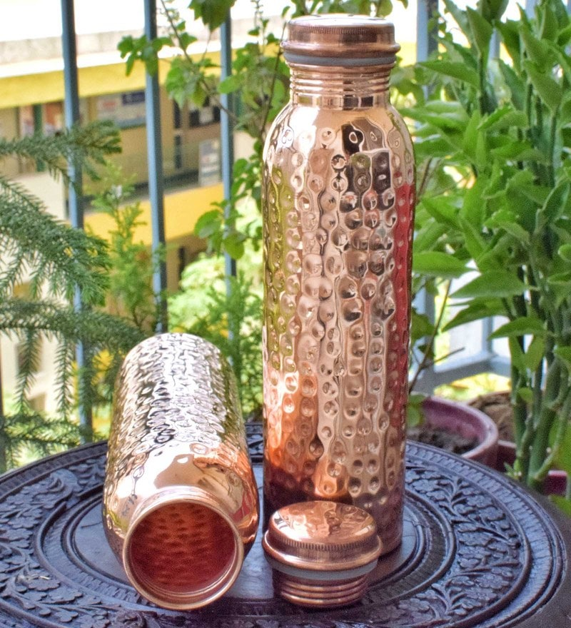 Frestol Copper 1 L Hammered Water Bottles - Set of 2