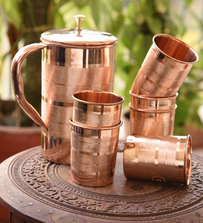 Frestol Handmade Copper Jug & Glasses - Set of 7