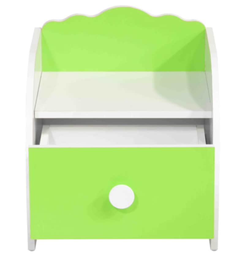 Friends Bedside Table in White & Lime Green Finish by Kids Fun Furniture