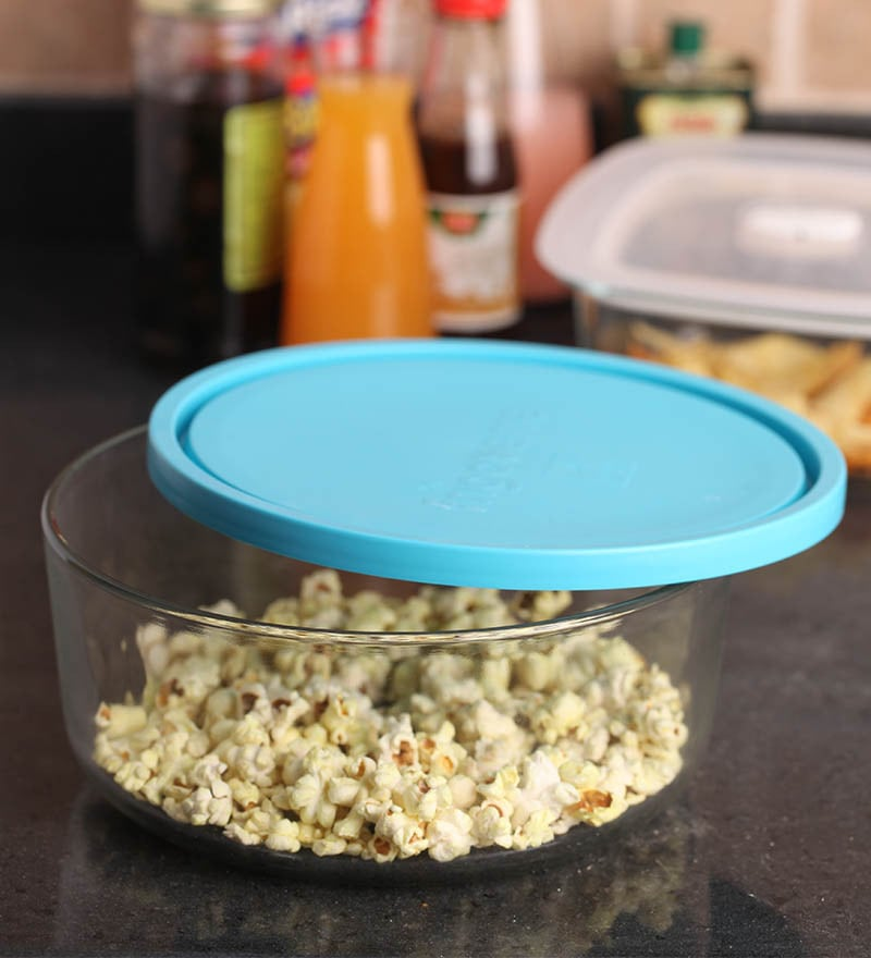 Bormioli Rocco Blue Lid Round Container - 9 inch- Set of 2