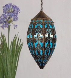 Furncoms Blue Metal Festive Lantern - 1596733