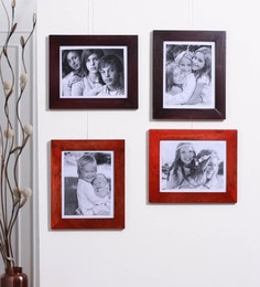 Furnicheer Scarlet Red And Brown Mango Wood Photo Frames - Set Of 4