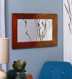 Furnicheer Yellow And Tangerine Orange Mango Wood Wide Frame Large Mirror For Wall Hanging