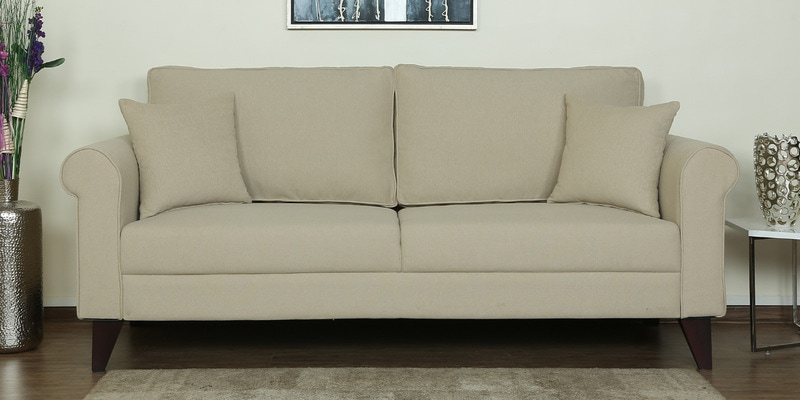 Fuego Three Seater Sofa in Beige Colour by CasaCraft