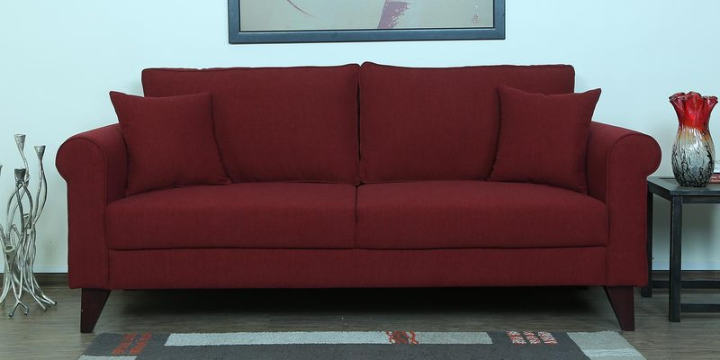 Fuego Three Seater Sofa in Garnet Red Colour by CasaCraft