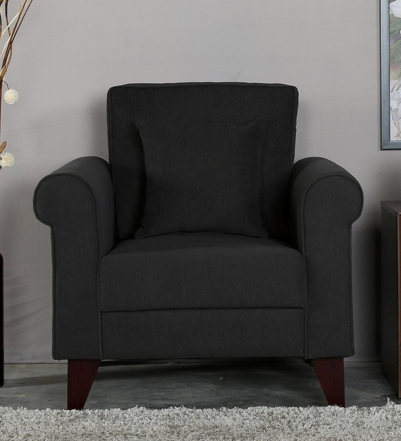 Fuego One Seater Sofa in Charcoal Grey Colour by CasaCraft