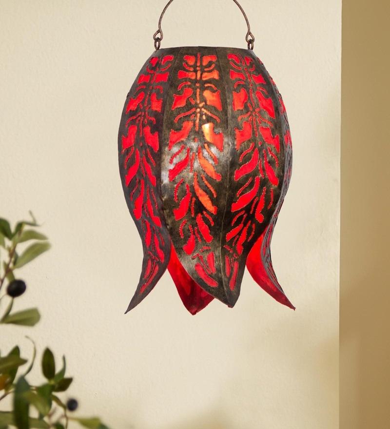 Red Metal Diwali Lantern by Furncoms