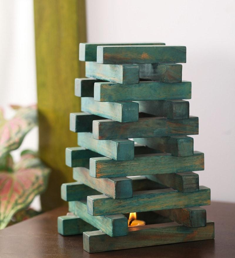 Green Mango Wood Pyramid Showpiece by Furnicheer
