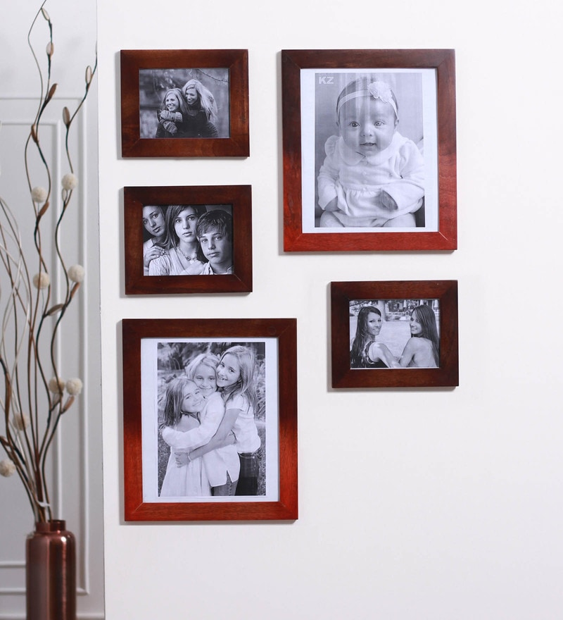 Multicolour Mango Wood Photo Frames - Set of 5 by Furnicheer