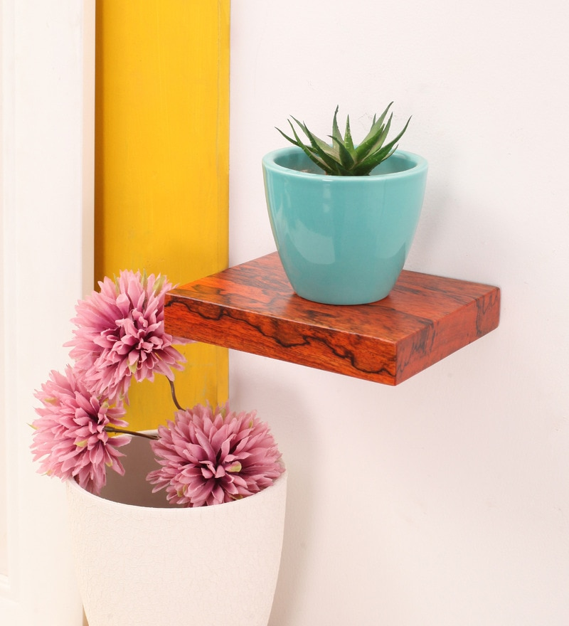 Orange Mango Wood Wall Shelf by Furnicheer