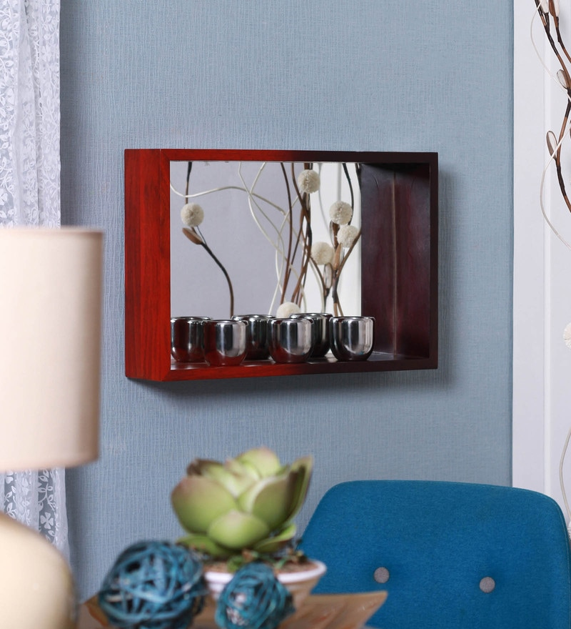 Scarlet Red and Plum Mango Wood Niche Mirror Medium Wall Shelf by Furnicheer