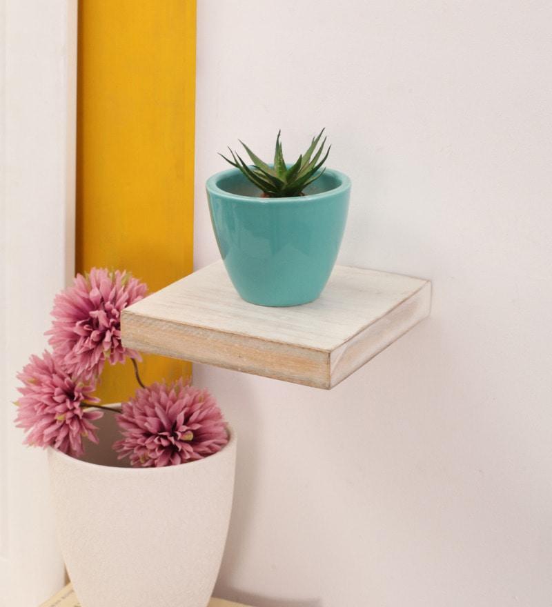 White Mango Wood Wall Shelf by Furnicheer