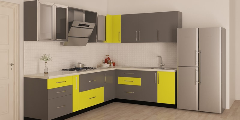 Pepperfry & Buy Spacewood L Shape Kitchen In Ply Acrylic Finish In Brown ...