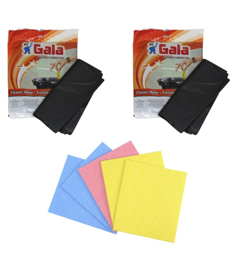 Gala Multicolour Perfumed Garbage Bag with Sponge Wipe Set of 3