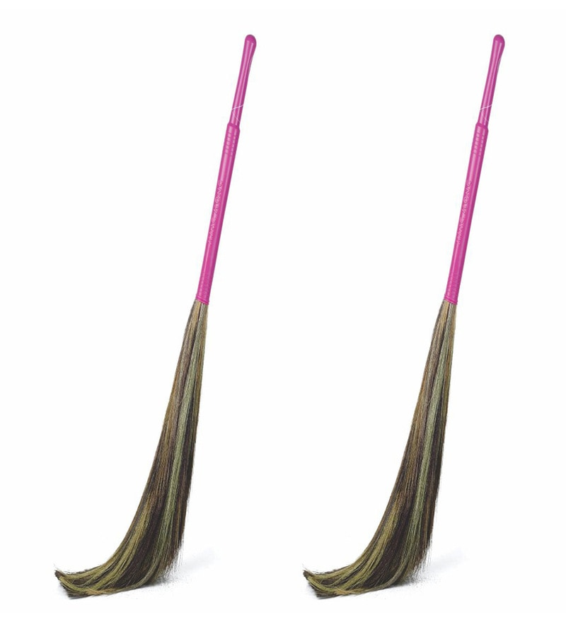 Gala Pink King Kong Grass Floor Broom Set of 2