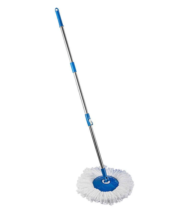 Gala Silver & white Spin Mop Handle with Refill