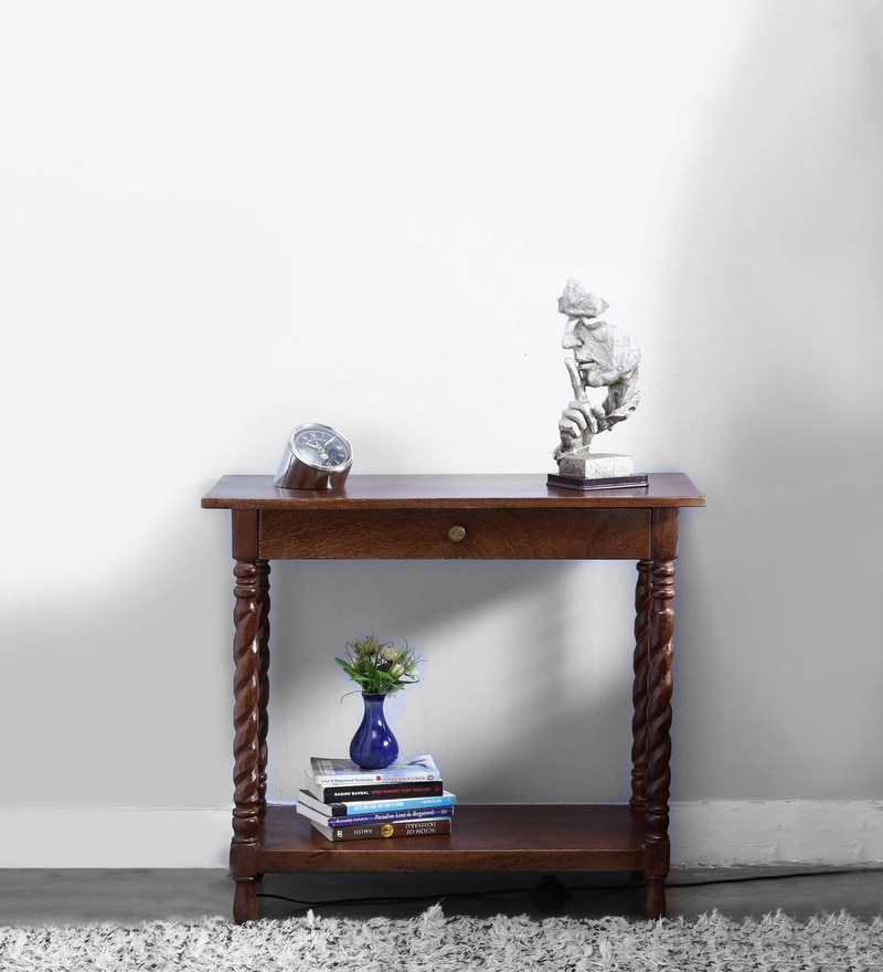 Garbut Compact Console Table in Provincial Teak Finish by Amberville