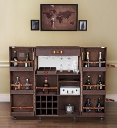 Genuine Leather Heritage Trunk Bar Cabinet In Brown Colour By Studio Ochre