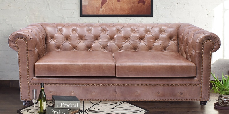 Buy Birmingham Leather Three Seater Sofa In Brown Colour By