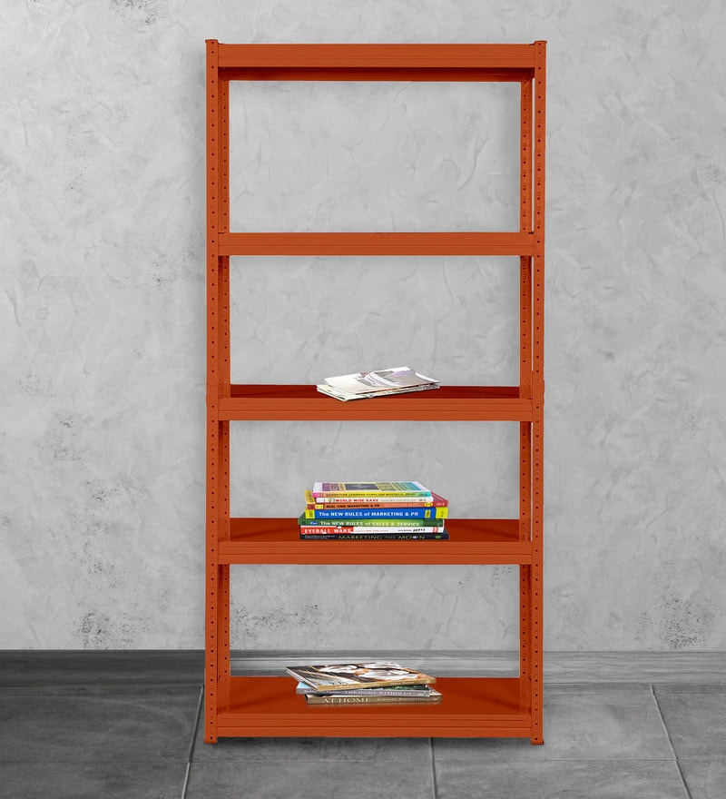 Gen Display Unit cum Book Shelf in Orange Finish by Mintwud